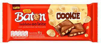 Tablete Baton Garoto Chocolate ao Leite Cookie Com Pedacinhos de Biscoito 90 Gramas Unidade