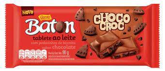 Tablete Baton Garoto Chocolate Choco Croc Com Pedacinhos de Biscoito Sabor Chocolate 90 Gramas Unidade