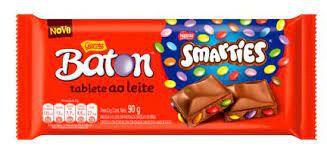 Tablete Baton Garoto Ao Leite Smarties Com Pastilhas Coloridas Sabor Chocolate 90 Gramas Unidade