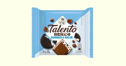 Chocolate Garoto Talento Tablete Cookies & Cream 90 Gramas Unidade