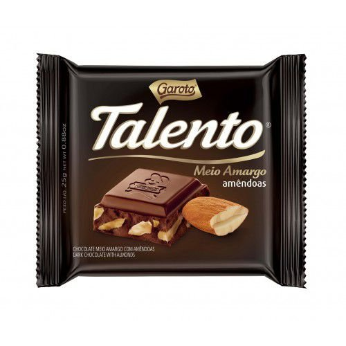 Chocolate Branco Garoto Talento Meio Amargo Com Amêndoas 25 Gramas Unidade