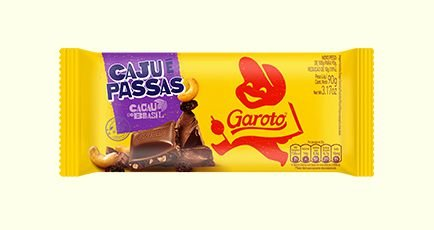 Barra de Chocolate Ao Leite Garoto Cajú e Passas 90 Gramas Unidade