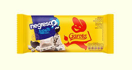 Barra de Chocolate Branco Garoto Negresco com Pedacinhos de Biscoito Sabor Chocolate 90 Gramas Unidade