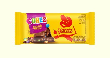 Barra de Chocolate Ao Leite Garoto Cores Com Pastilhas de Chocolates Coloridas 90 Gramas Unidade