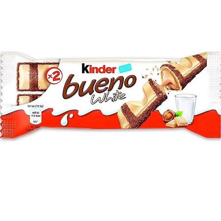 Wafer Chocolate Branco Kinder Bueno White Com Recheio Leite + Avelãs 39 Gramas Unidade
