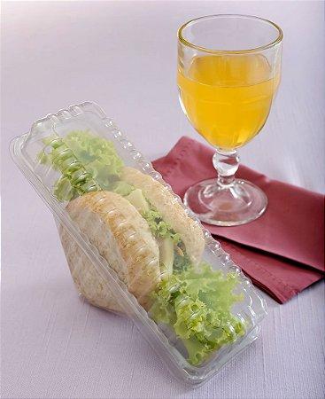 Embalagem Galvano Millenium Cristal para Sanduíche Com Tampa Articulada G560 Unidade