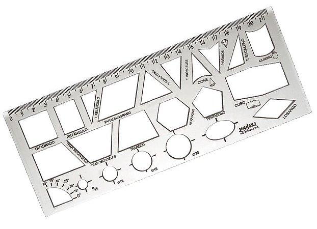 Régua Cristal 21cm Figuras Geométricas R.10270038 Unidade
