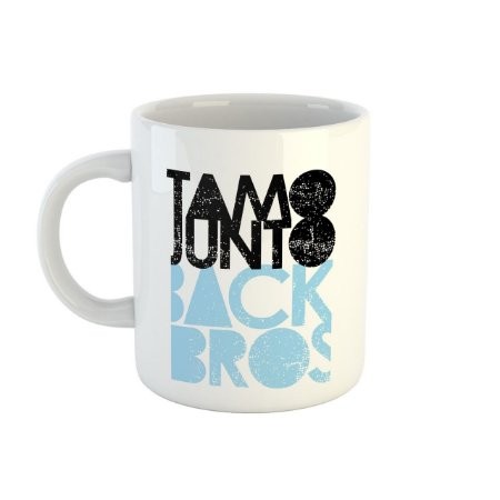 Caneca TamoJunto Back Bros branca com azul pastel