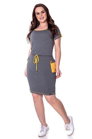 Vestido de malha com bolsos laterais Amarelo 50829 Hadaza