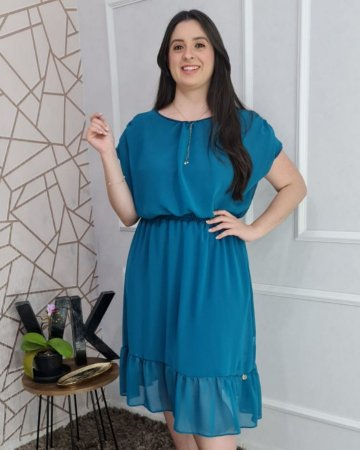 Vestido midi em crepe e lastex na cintura Parintins Azul 177 Valentina Sirrah