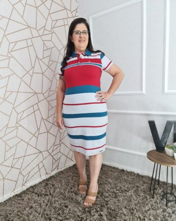 Vestido Polo Vermelho com azul petróleo Kathlyn Rafaela 110022