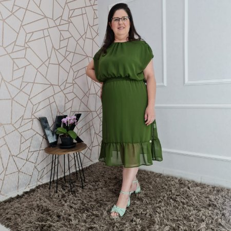 Vestido midi em crepe e lastex na cintura Parintins Verde 176 Valentina Sirrah