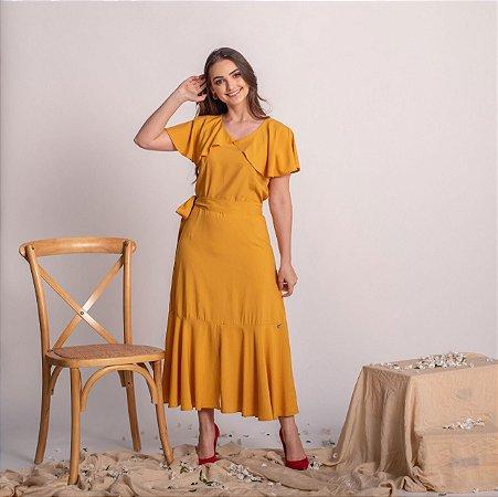 Vestido max midi em viscose evasê Dourados 178 Valentina Sirrah