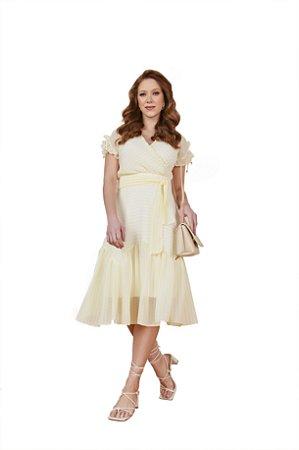 Vestido leve e delicada listras e mini poá decote transpassado Amarelo 3.00119 Fascínius