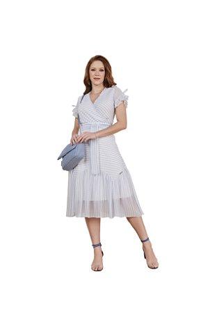 Vestido leve e delicada listras e mini poá decote transpassado Azul 3.00119 Fascínius