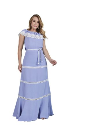 Vestido longo tecido com elastano acinturado detalhe de guipir na saia Lavanda 3.00175 Fascínius