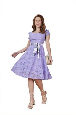 Vestido evasê Primavera em renda desenhos geométricos Lavanda Fascínius 3.00239