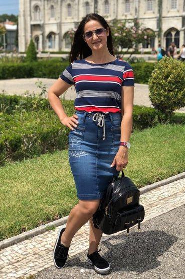 Saia jeans Sorenzza - Moda Evangélica