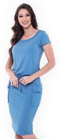 Vestido Aletéya 60398 Azul - Moda Evangélica