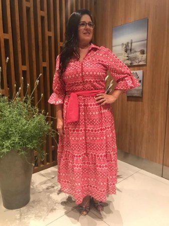 Vestido de Chifon Bordado 11287 Luzia Fazzolli - Moda Evangélica