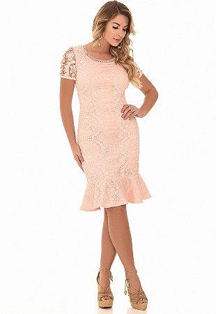 Vestido de Renda Italiana Rosa com Pérolas Fascíniu´s 12547 Moda Envagélica