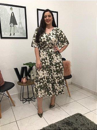 Vestido de Linho Floral 12055 Luzia Fazzolli - Moda Evangélica