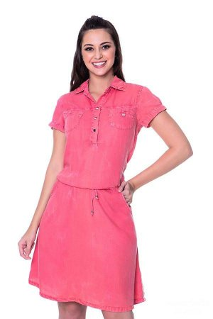 Vestido Denim Girl Rosa Hapuk Moda Evangélica