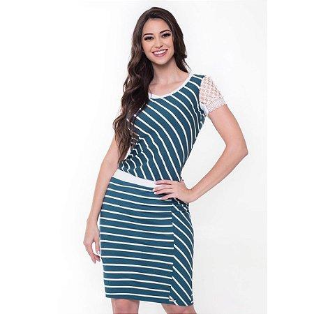 Vestido Fabiana Verde 60400 - Moda Evangélica