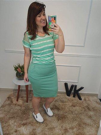 Vestido Flavia Verde 60321 - Moda Evangélica