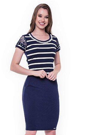 Vestido Flavia Azul 60321 - Moda Evangélica