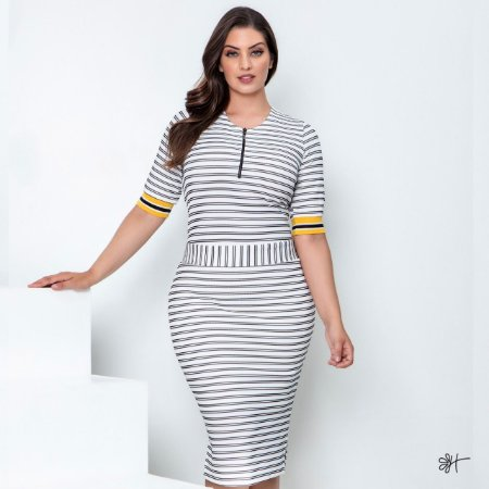 Vestido de Malha Canelada 50453 Hadaza - Moda Evangélica
