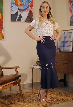 Conjunto Mel 14915 Azul Fascinius - Moda Evangélica