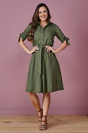 Vestido em Laise Verde 6077 Tata Martello - Moda Evangélica