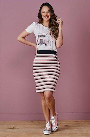 Conjunto com T-shirt e Saia em Malha Canelada 7036 Tata Martello - Moda Evangélica