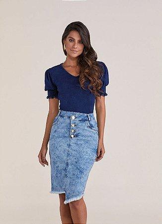 Saia Jeans Assimétrica Titanium 4991 - Moda Evangélica