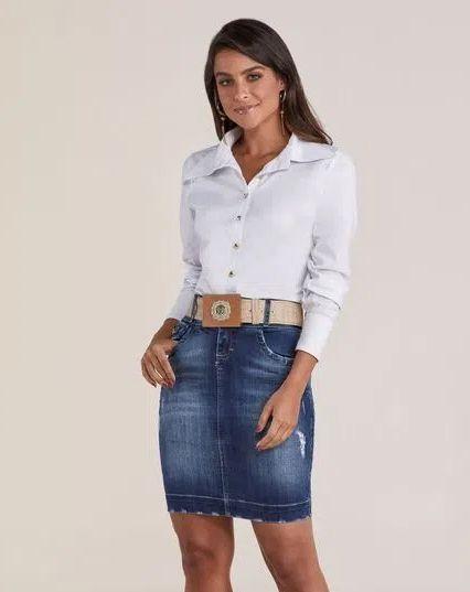 Saia Jeans Tradicional Titanium 4813 - Moda Evangélica