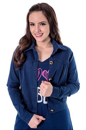 Jaqueta jeans azul tingido com detalhes em taxas achatadas 18058 Hadaza - Moda Evangélica