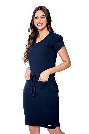 Vestido de Malha Cotton Azul Marinho Taissa 60502 Hapuk - Moda Evangélica