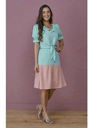 Conjunto em Viscolinho Bicolor Azul com Rosa 7117 Tatá Martello Lisa - Moda Evangélica