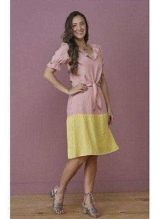 Conjunto em Viscolinho Bicolor Rosa com Amarelo 7117 Tatá Martello Lisa - Moda Evangélica