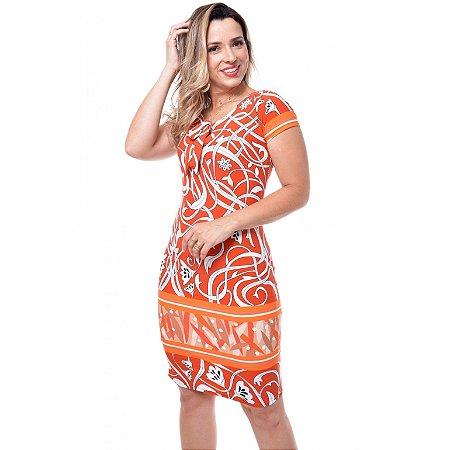 Vestido Estampado em Malha Fria Expressão 3665 - Moda Evangélica