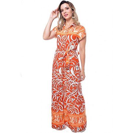 Vestido Longo Estampado com Laranja 3663