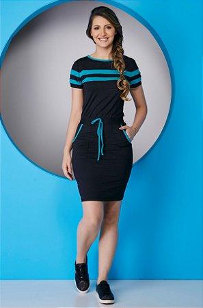 Vestido de Malha com Detalhes em Azul 5071 Tata Martello - Moda Evangélica