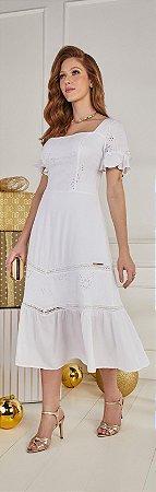Vestido Fascinius Nara Branco 14808 - Moda Evangélica