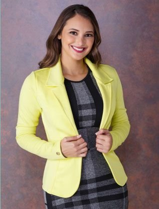Blazer em Neoprene Neon Amarelo 4072 Tata Martello - Moda Evangélica