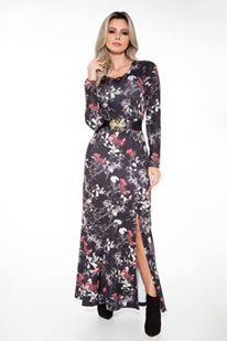 Vestido Estampado Com Abertura 50760 Via Tolentino - Moda Evangélica