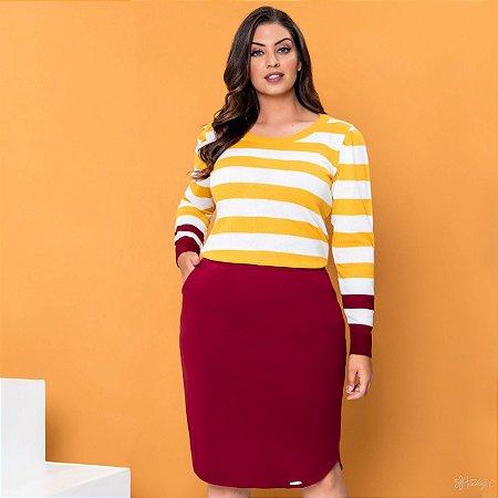 Conjunto Plus Size Hadaza com Blusa de Tricot Mostarda e Saia Marsala 46647 - Moda Evangélica