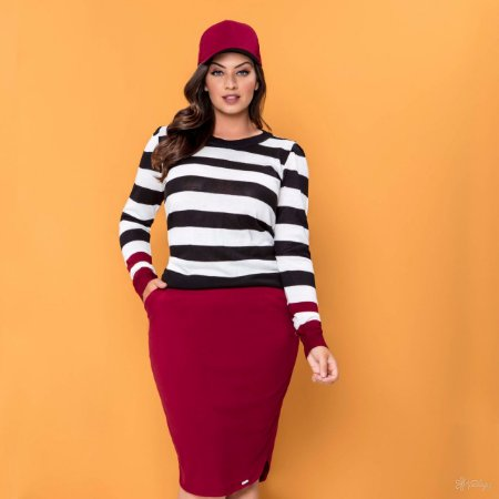 Conjunto Plus Size Hadaza com Blusa de Tricot Preta e Saia Marsala 46647 - Moda Evangélica