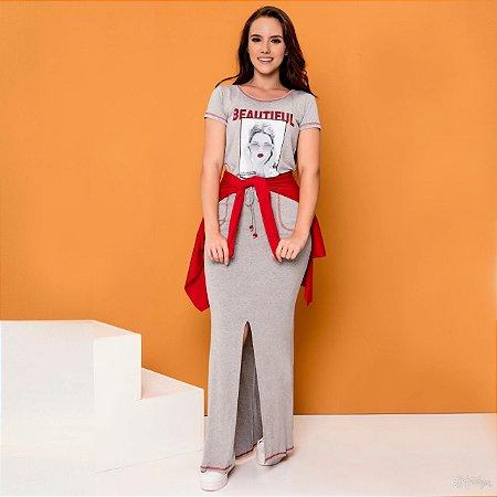 Conjunto de Malha Plus Size Vermelho e Cinza Hadaza 46672 - Moda Evangélica