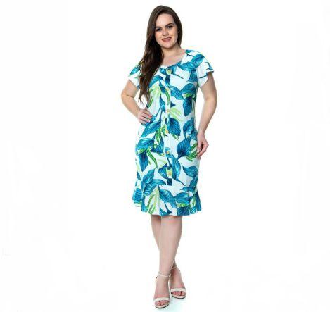 Vestido Floral Plus Size 50366 Hadaza - Moda Evangélica